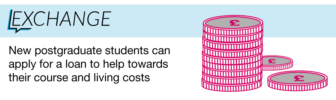 New postgraduate students can apply for a loan to help towards their course and living costs